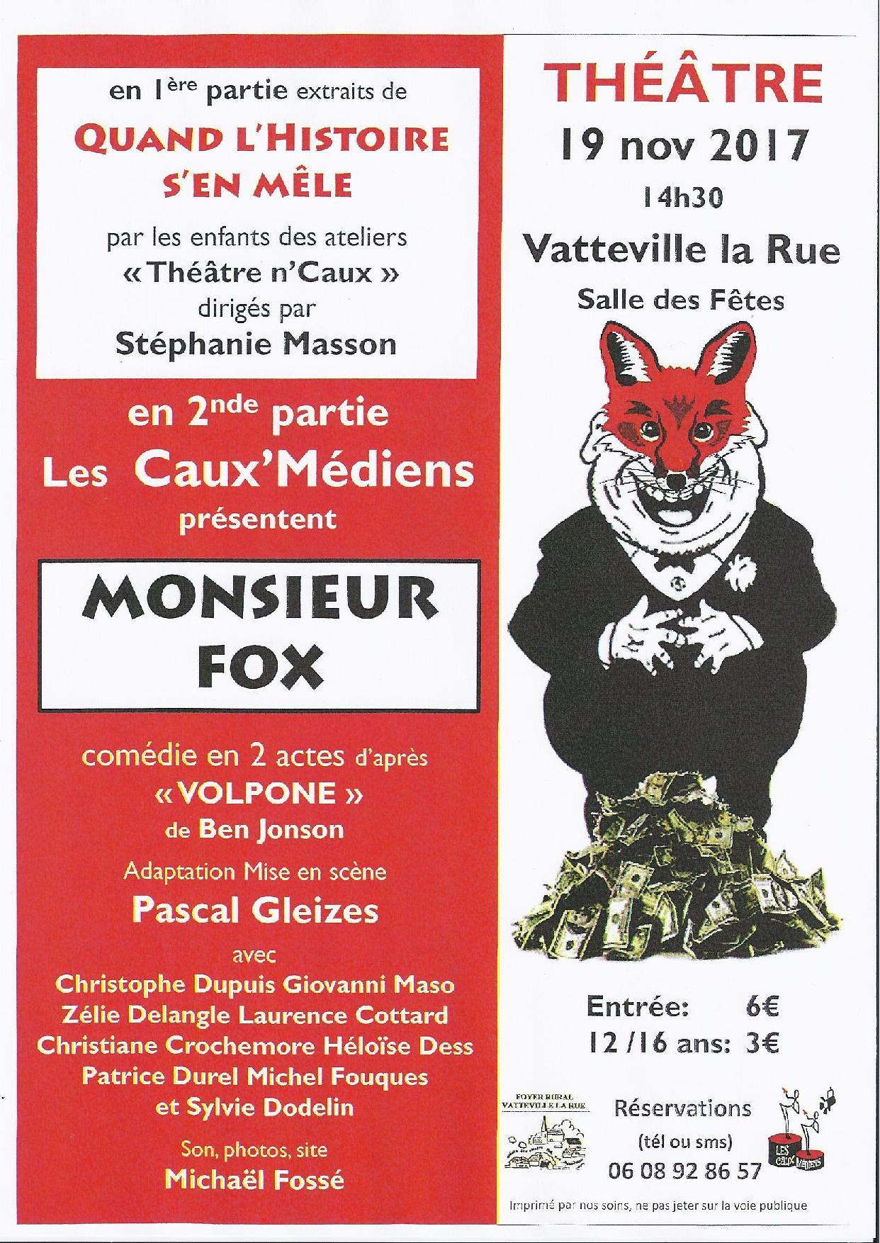 Théâtre à Vatteville-la-Rue – 19 Novembre 2017
