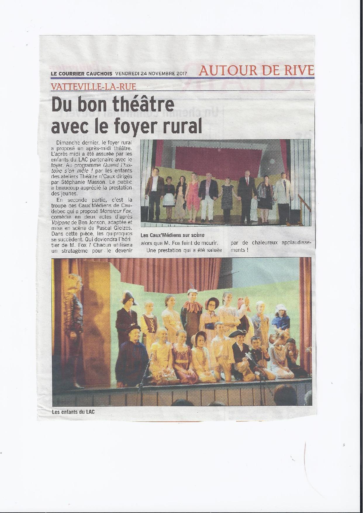 Article Courrier Cauchois sur la représentation de Théâtre