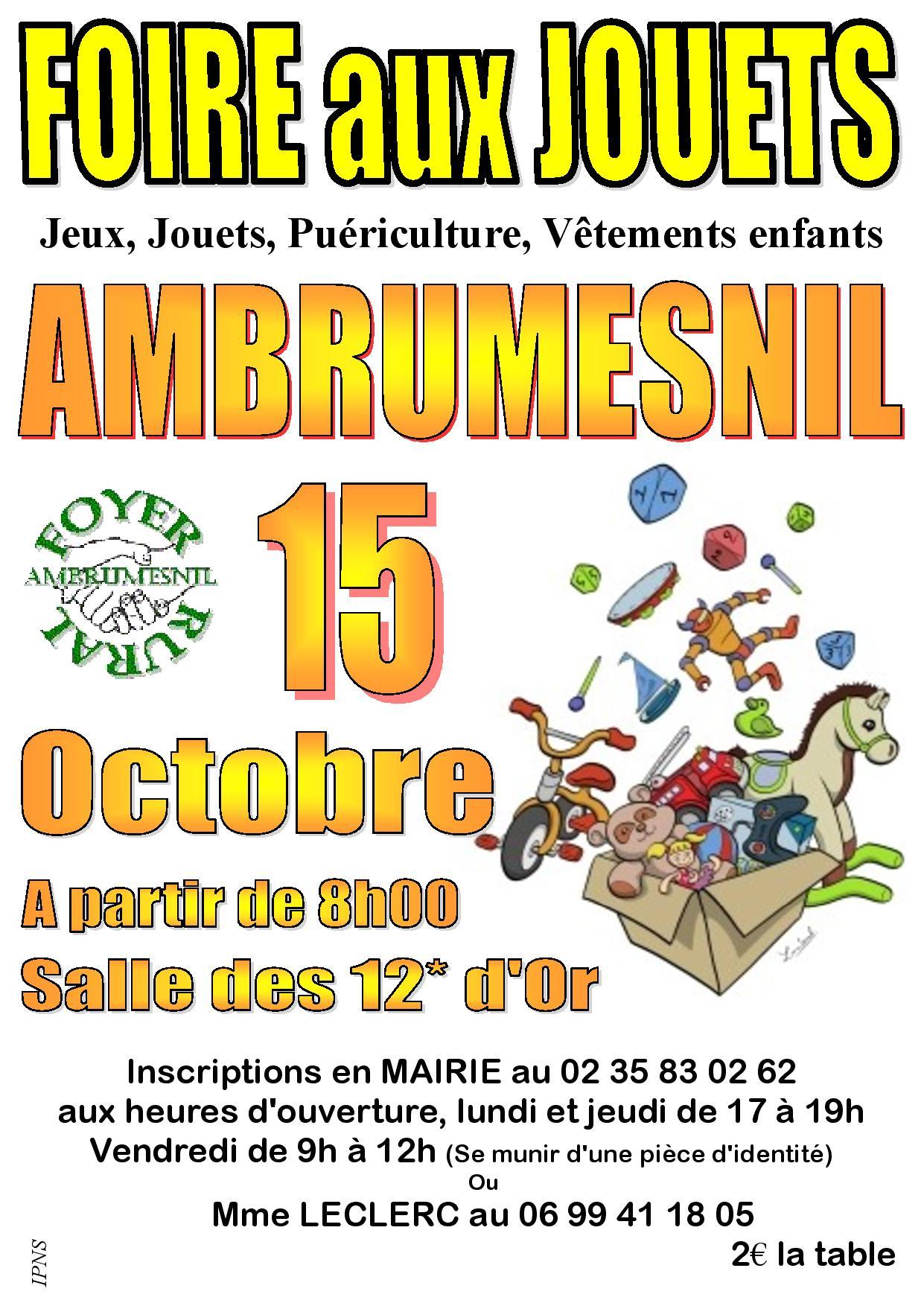 Foire aux Jouets à Ambrumesnil – 15 Octobre