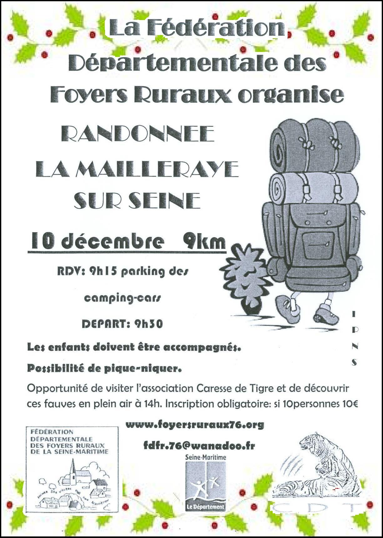 Randonnée : La Mailleraye-sur-Seine – 10 Décembre 2017
