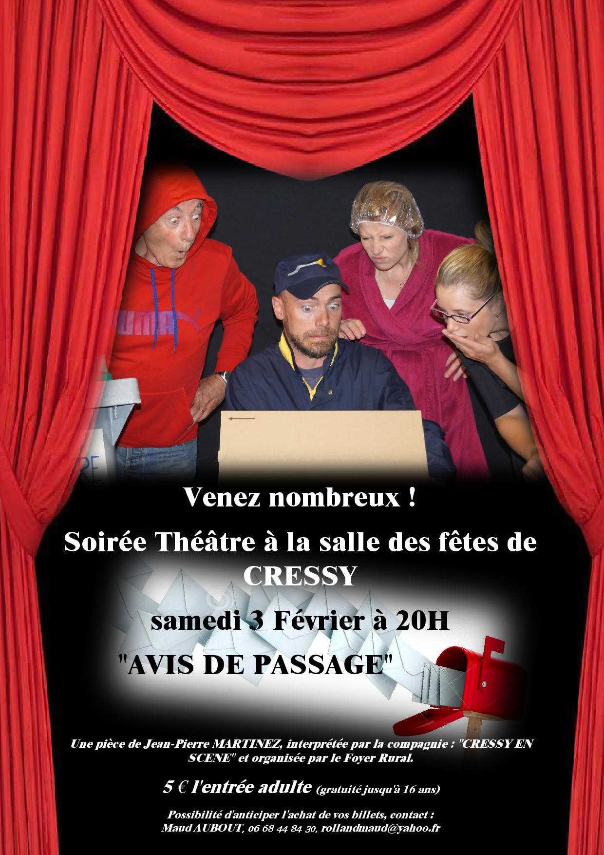 Soirée Théâtre à Cressy – 3 Février 2018
