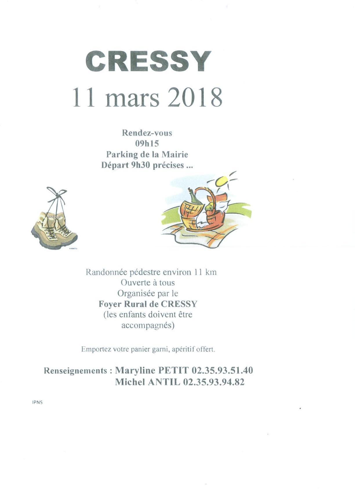 Randonnée Pédestre à Cressy- 11 Mars 2018
