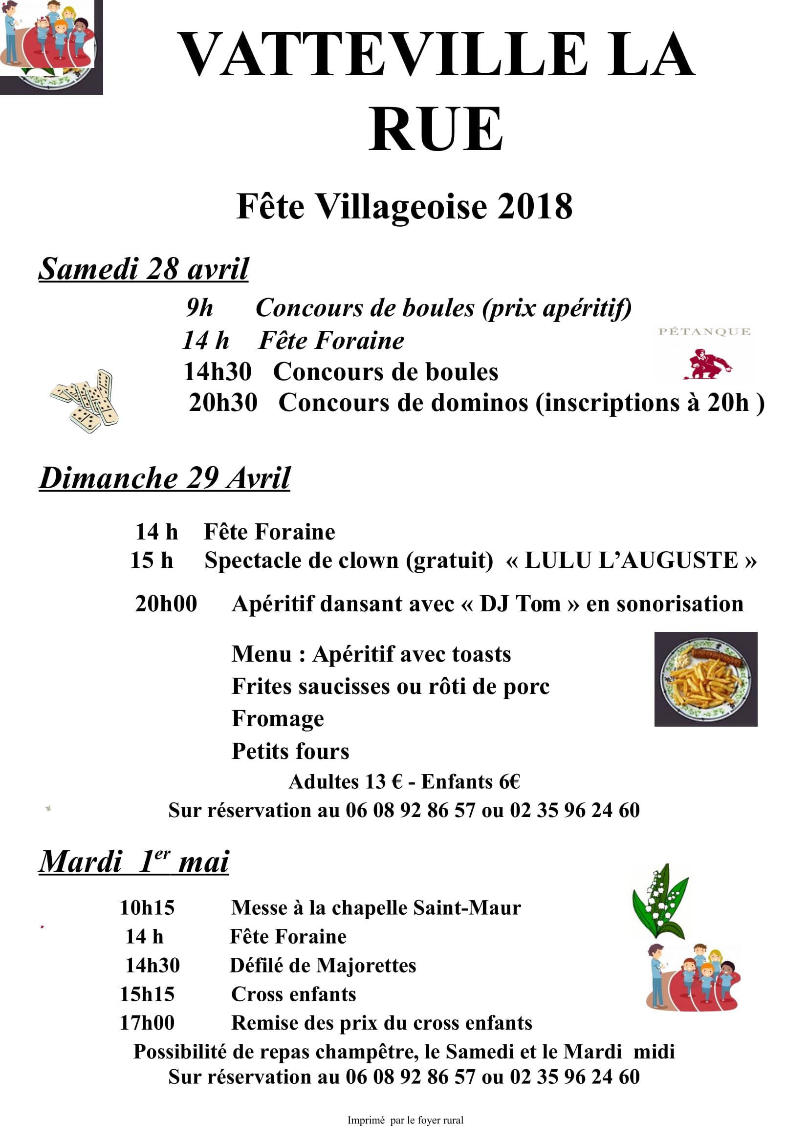 Fête Villageoise – 28, 29 Avril et 1 Mai